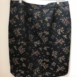 LOFT Skirts - Loft - Black satin and «embroidery» skirt